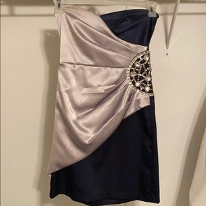 Short Navy and Silver Cocktail Dress